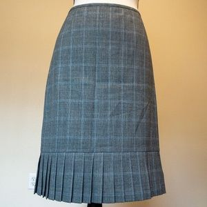 Pleated Hem Grey And Blue Check Wool Blend Skirt